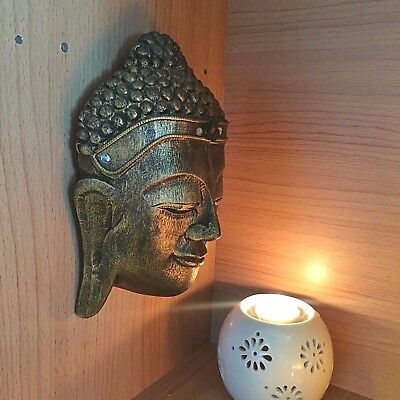 Vintage Large Wood Art Bronze Carved Buddha Face Wall Hanging Sculpture Decor!