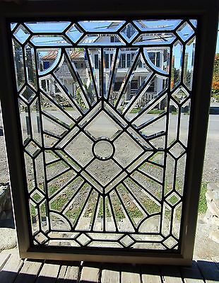 Antique Beveled Glass Window With Zipper Cut Detail