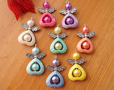 8x Mixed Colours Acrylic Heart Angel Charm Pendant Beads Silver Wings