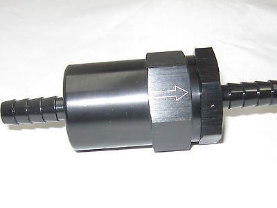 "Fuel Filter, Billet inline cleanable element  for 3/8"" slip on hose  Black"