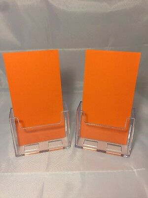 2 clear plastic Acrylic Tri Fold Display Counter top Brochure Holders  trifold