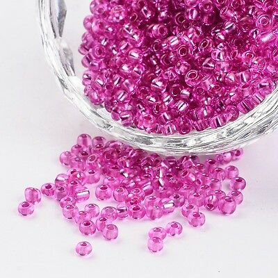 1 Pound 8/0 Inside Colours Round Glass Seed Beads DeepPink Hole 0.8~1mm