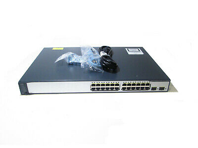 Cisco WS-C3750-24PS-S 24-Port PoE Switch + Power & Console Cable + Rack Mounts