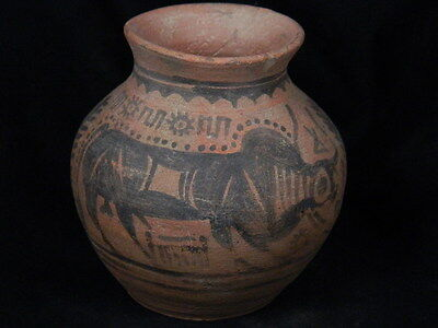 "Ancient Indus Valley Teracotta Painted Pot With Bulls C.2500 Bc   """"t15458"""""