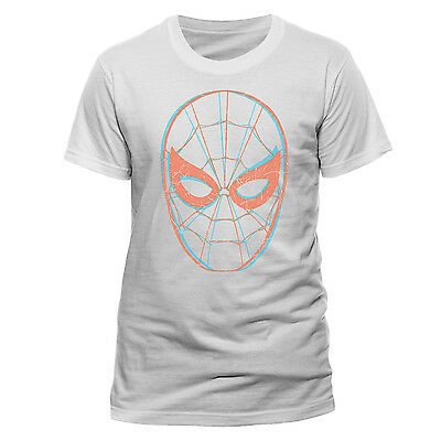 Official Marvel Comics The Amazing Spider-Man 3D Mask Styled White T-Shirt (New)