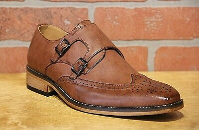 UV Signature Men's Wing Tip Double Monk Strap Brown Dress Shoes UV042