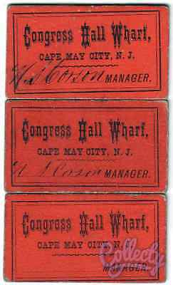 3 CONGRESS HALL WHARF TICKETS, Cape May City N.J. 1878 RARE VINTAGE COLLECTIBLES