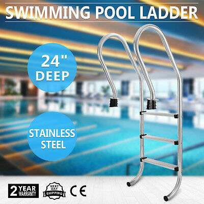 Inground Swimming Pool Ladder 3 Steps Heavy Duty 24 Inch Deep In-Pool 3-Bend