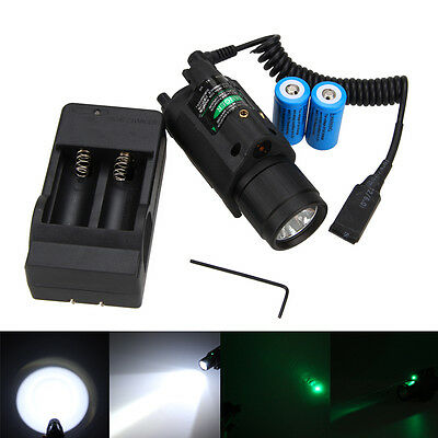 Tactical Green/Red Laser Sight CREE LED Flashlight Combo + Picatinny Rail Mount