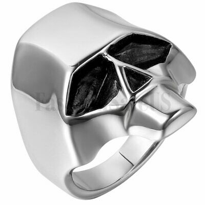 Mens Polished Silver Black Tone Stainless Steel Skull Head Ring Gothic Punk Band