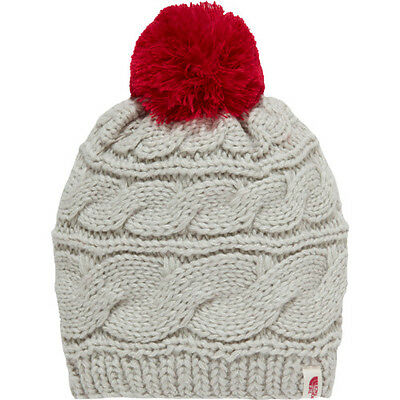 North Face Tri Cable Pom Womens Headwear Beanie Hat - Lunar Ice Grey One Size