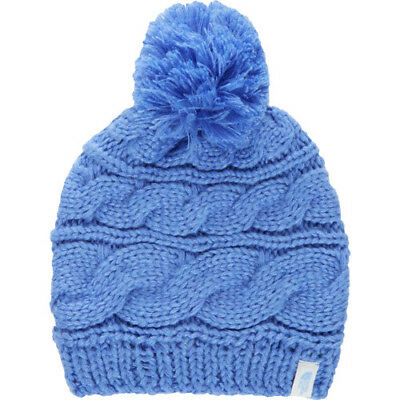 North Face Tri Cable Pom Womens Headwear Beanie Hat - Stellar Blue One Size