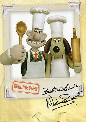 Authentic Nick Park Signed Wallace And Gromit Official 8X6 Promo Real Sig..coa