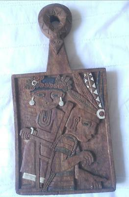 Hand Carved Wood South American Ethnic Folk Art Peru Aztec Hanging Cheese Board
