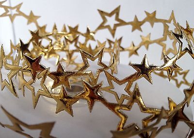 25mm CUT OUT SHINY GOLD SATIN CHRISTMAS STAR TRIMMING 1m LENGTHS
