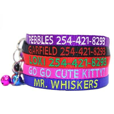 Personalized Embroidered Nylon Break Away Cat Collar W/Bell