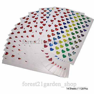 5 Color Hologram Glossy Love Labe Sticker, 7 x 9mm Dot Point-14 Sheet -1128 Dots