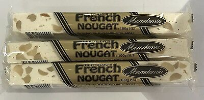 909767 3 x 100g BARS OF BERTOLDO'S MACADAMIA FRENCH NOUGAT - HAND MADE