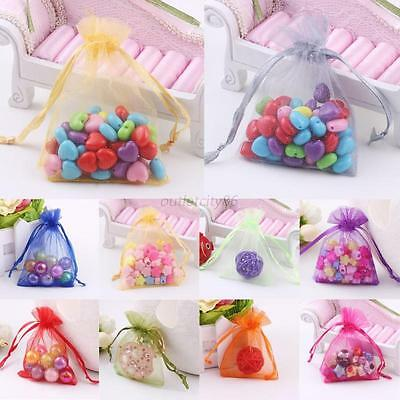 100 Pcs Organza Gift Candy Sheer Bags Pouches Set Wedding Party Favor Decoration