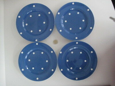 4  X T G Green Cornishware Cornish Blue Domino Spots Dessert Salad Side Plate 8""