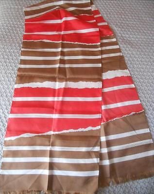 Fabulous Vintage 1960's Ladies Scarf Brown Red White Stripes Fringed Ends