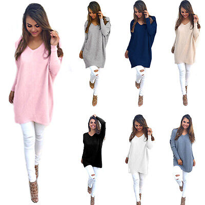 UK Women Loose Long Sleeve Sweater Ladies Sweatshirt Jumper Pullover Tops Blouse
