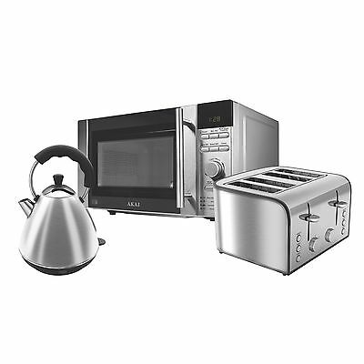 Akai Stainless Steel 20Ltr Microwave, Kettle & 4 Slice Toaster Set - Brand NEW!!