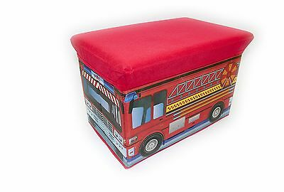 2 in 1 FOLD AWAY KIDS STORAGE BOX WITH PADDED SEAT, BEDROOM, NURSERY,FIRE ENGINE