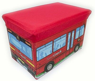 2 in 1 FOLD AWAY KIDS STORAGE BOX WITH PADDED SEAT, BEDROOM, SCHOOL BUS DESIGN