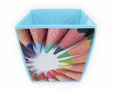 Cube Shaped Waste Paper Bin,blue, Pencil Design Bedroom, Playroom, Kids,students