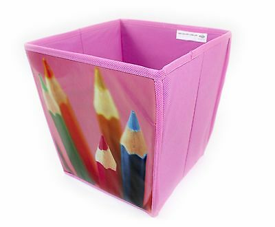 Cube Shaped Waste Paper Bin,pink, Pencil Design Bedroom, Playroom, Kids,students