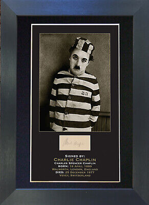 CHARLIE CHAPLIN Signed Mounted Autograph Photo Prints A4 8