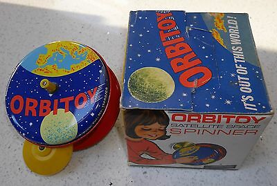 Vintage Orbitoy Satellite Space Spinner Tin Plate Toy Rare Combex 1969 Boxed