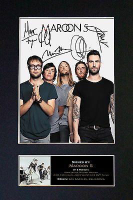 MAROON 5 Signed Mounted Autograph Photo Prints A4 125