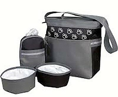 Black & Grey Dog Accessories Bag, Food And Water Bowls Included, Travel,holiday