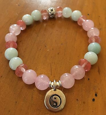 ॐ Crystal Blissॐ Rose Quartz & Amazonite Yoga Reiki Charged Bracelet Yin Yang