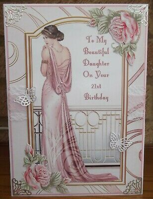 HANDMADE ART DECO PERSONALISED 21st BIRTHDAY CARD WITH A GRACEFUL LADY IN PINK