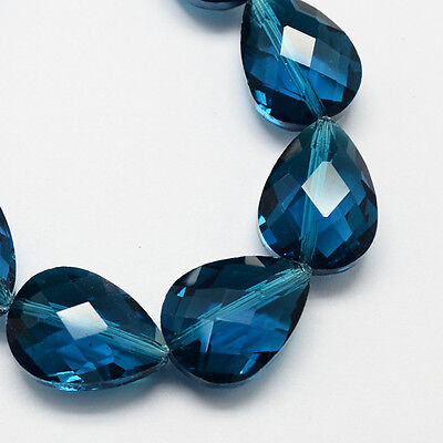 Faceted SteelBlue Transparent Glass Drop Bead Strands 18x13x10mm 20pcs/strand