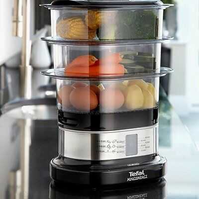 Tefal Mini Compact Food Steamer Vegetable Three Tier Electric 6.5 L Capacity