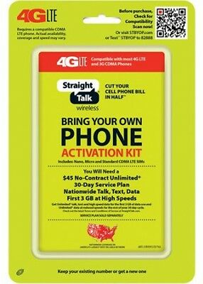 Straight Talk Bring Your Own Phone CDMA Activation Kit 4G LTE, NEW FREE SHIPPING