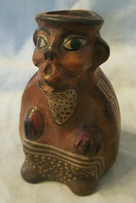 Pre Columbian Mocha Clay Vessel Painted Monkey Figure  #2