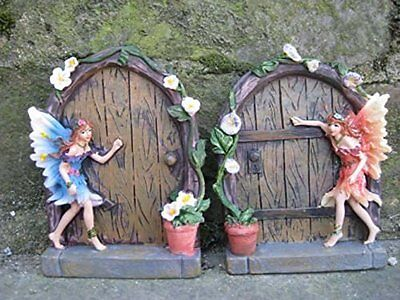 Set of 2 Sparkle Fairy Door Garden Home Ornament