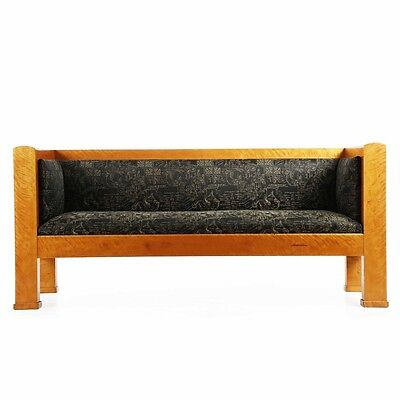 Fine Biedermeier Flamed Birch Antique Sofa Settee, Late 19th Century