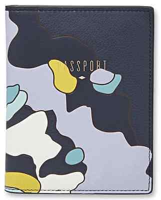 Fossil LEATHER Blue & Gray PASSPORT Cover Holder Wallet NEW