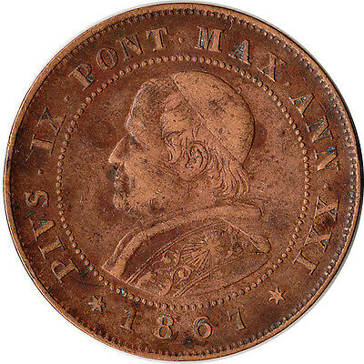1867 Italy - Papal States (Vatican) 2 Soldi Large Coin KM#1373