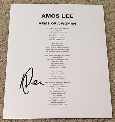 AMOS LEE SIGNED AUTOGRAPH ARMS OF A WOMAN LYRICS SHEET w/PROOF