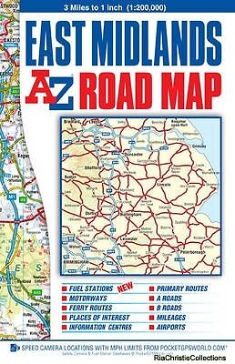 East Midlands Road Map Geographers A-Z Map Co. Ltd. Sheet map folded New Book Fr