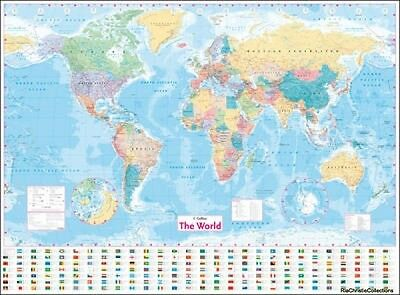 Collins World Wall Laminated Map Collins Maps Sheet map flat New Book Free UK De