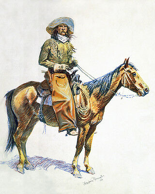 Arizona Cowboy On Horse Remington US Western Painting Real Canvas Art Print
