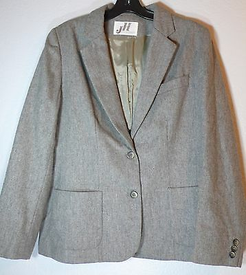 Vintage JH Collectibles Light Gray Wool Women's Blazer - Size 14